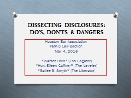 DISSECTING DISCLOSURES: