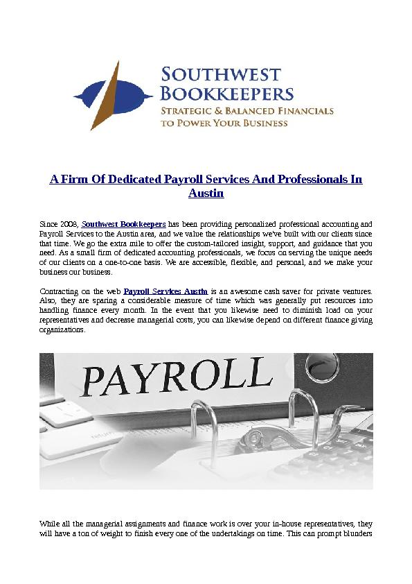 A Firm Of Dedicated Payroll Services And Professionals In Austin