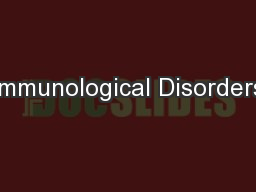 Immunological Disorders PowerPoint PPT Presentation