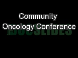 Community Oncology Conference
