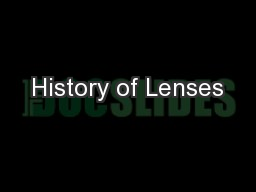 History of Lenses