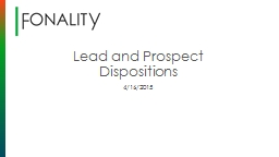 Lead and Prospect Dispositions
