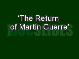 'The Return of Martin Guerre'