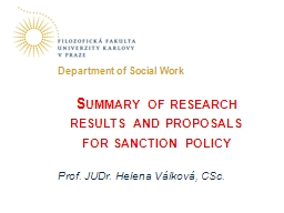 Summary of research results and proposals for sanction poli