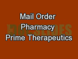 Mail Order Pharmacy Prime Therapeutics