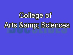College of Arts & Sciences PowerPoint PPT Presentation