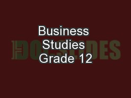 Business Studies Grade 12