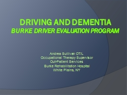 Driving and Dementia PowerPoint PPT Presentation