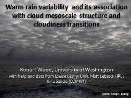 Warm rain variability and its association with cloud