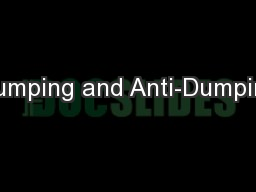 Dumping and Anti-Dumping