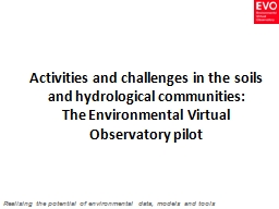 Activities and challenges in the soils and hydrological com