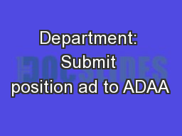 Department: Submit position ad to ADAA