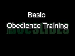 Basic Obedience Training PDF document - DocSlides