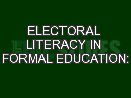 ELECTORAL LITERACY IN FORMAL EDUCATION: