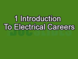 1 Introduction To Electrical Careers
