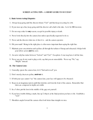 SCREEN ACTING TIPS  A SHORT GUIDE TO SUCCESS I