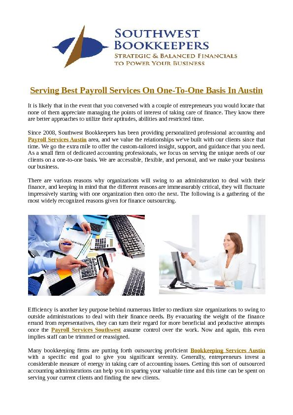 Serving Best Payroll Services On One-To-One Basis In Austin