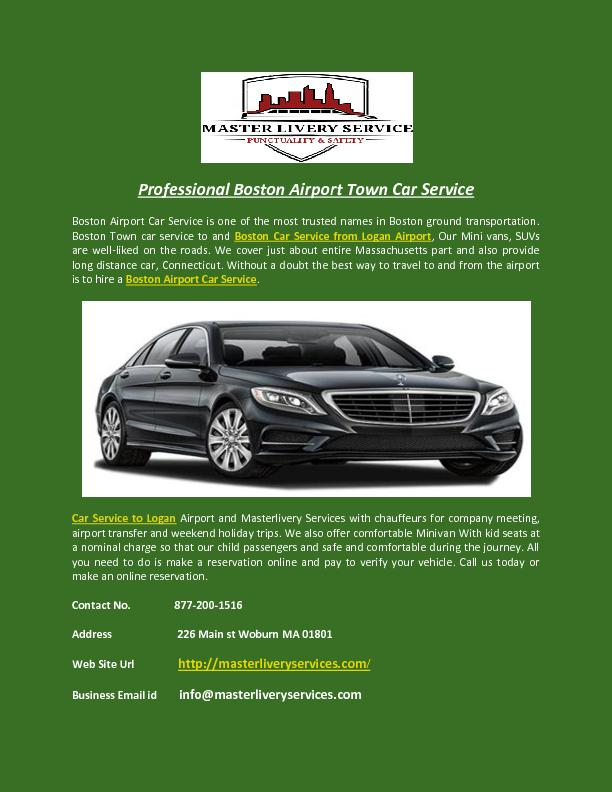 Professional Boston Airport Town Car Service