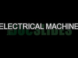 ELECTRICAL MACHINE