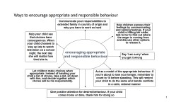 1 Ways to encourage appropriate and responsible behaviour