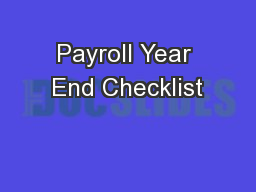 Payroll Year End Checklist