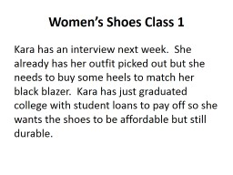 Women's Shoes Class 1 PowerPoint PPT Presentation