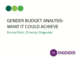GENDER BUDGET ANALYSIS: