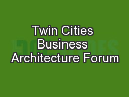 Twin Cities Business Architecture Forum