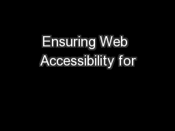 Ensuring Web Accessibility for