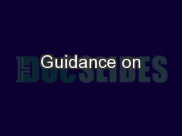 Guidance on