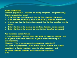 System of deduction PowerPoint PPT Presentation