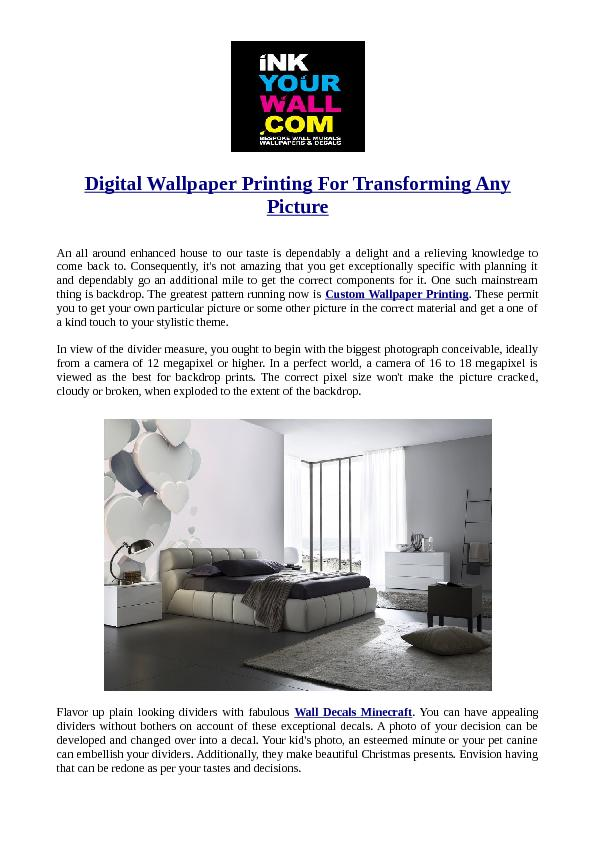 Digital Wallpaper Printing For Transforming Any Picture