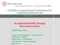 CS5540: Computational Techniques for Analyzing Clinical Dat PowerPoint PPT Presentation