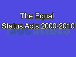 The Equal Status Acts 2000-2010