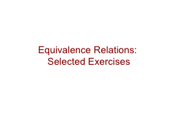 Equivalence Relations: