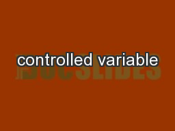 controlled variable