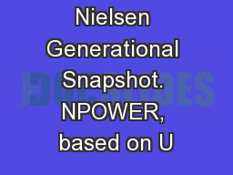 1 Source: Nielsen Generational Snapshot. NPOWER, based on U