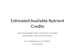 Estimated Available Nutrient Credits PowerPoint PPT Presentation