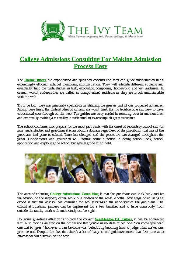 college admission consultant Gain expert, individualized, strategic college admissions consulting from former stanford admissions team guidance for academics, extra-curriculars, testing, best.