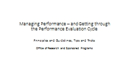 Managing Performance – and Getting through the Performanc