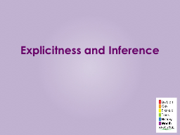 Explicitness and Inference