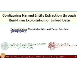 Configuring Named Entity Extraction through