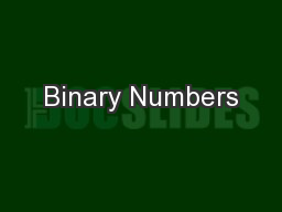 Binary Numbers PowerPoint PPT Presentation