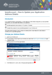 Immi Account How to Update your Appl ication Address D