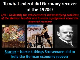 To what extent did Germany recover in the 1920s?