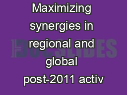 Maximizing synergies in regional and global post-2011 activ