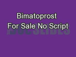 Bimatoprost For Sale No Script