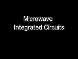 Microwave Integrated Circuits