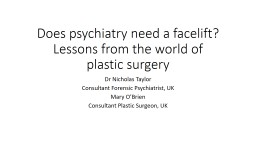 Does psychiatry need a facelift? Lessons from the world of