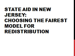 State Aid in New Jersey: